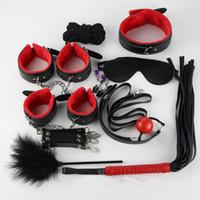 conjunto de punhos bdsm venda por atacado-10PCS / set Leather bondage Limitações Produtos sexo escrava SM Sexo Erótico Toy Mão punhos Toy Sex for Couples