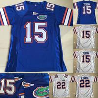 camisolas de futebol venda por atacado-Hot Florida Jacarés de Futebol Jerseys 15 Tim Tebow 22 Emmitt Smith Colégio Camisas De Futebol Frete Grátis Branco Azul