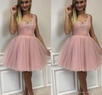 Wholesale cute prom dresses resale online - Cute Elegant V neck Tulle Homecoming Dresses Zipper Back Pink Cocktail Prom Party Dresses Robe De Retour Graduation Dresses