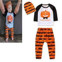 Wholesale boys pant new style resale online - INS new Halloween baby boys suits infant sets newborn outfits baby boy clothes baby infant boy designer clothes t shirt pants hats A7928