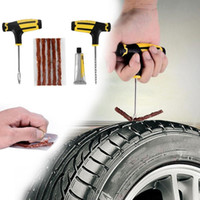 Wholesale tubeless tyre repair resale online - Car Tubeless Tyre Tire Puncture Repair Plug Kit Needle Patch Fix Tool Cement