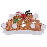 ручная роспись яблока оптовых-Оптовая Maxora Gingerbread Family Of 6 Персонализированные рождественские украшения Смола Ручная роспись украшения с Red Apple, как персонализированные подарки