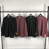 Wholesale color forks resale online - Heron preston high collar long sleeve men and women with the hem split fork bottoming sweater XS L
