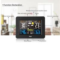 écrans de bambou achat en gros de-Écran couleur Prévisions météo Horloge 3365 Horloge à ondes électriques en bambou Alarme électronique Rf Météo