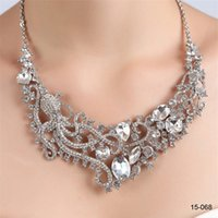 Wholesale pearl accessories online - New Design Elegant Silver Plated Pearl Rhinestone Bridal Necklace Earrings Jewelry Set Cheap Accessories for Prom