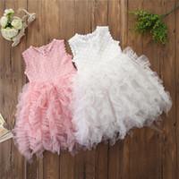 kız için işlemeli tül elbisesi toptan satış-INS Kızlar Dantel elbise Kolsuz Prenses Parti Nakış Tül Tomurcuk Balo elbise Kız giyim Beyaz Pembe 2019 Yaz