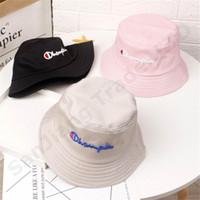 erkek çocuk kovası şapkaları toptan satış-Şampiyonlar çocuklar kızlar nakış mektup visor çocuk erkek kız kova şapka yaz bebek rahat kapaklar nakış moda balıkçı şapkalar C3193