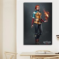 Wholesale wall art cartoon paintings for bedroom resale online - The Witcher Wild Hunt Triss Merigold Art Canvas Poster Painting Wall Picture Print For Living Bedroom Home Decoration