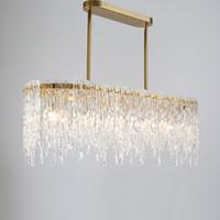 lustre rectangulaire led achat en gros de-2019 luxe design rectangulaire lustre LED lampe AC110V 220V verre salle à manger salon suspendu lumières