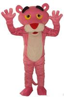 trajes de cola marrón al por mayor-2019Factory venta directa traje de la mascota de la mascota de la pantera de color rosa ropa de dibujos animados vestido de lujo