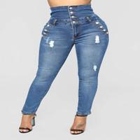 ingrosso bottoni per jeans blu-Pantaloni lunghi a vita alta elasticizzati in denim a vita alta da donna Plus Size Bottoni super comodi Jeans blu pantaloni S-XXXL