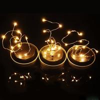cortina de luz 12v al por mayor-Solar Powered LED Mason Jars Light Up Tapa 10 LED String Fairy Star Lights Tapas de plata para Mason Glass Jars Luces de jardín de Navidad