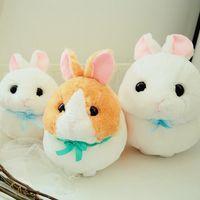 ingrosso coniglio giallo-Bambola in peluche con coniglietti rotondi, rotondi, coniglietto carino, sudcoreano, cashmere, fiocco, regalo, cotone, bianco, giallo 1