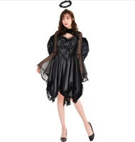 senhora escura venda por atacado-Lady Halloween Sexy Dark Angel Costume Europa e América Jogo Uniforme da noiva do vampiro Devil Wear www xxx com