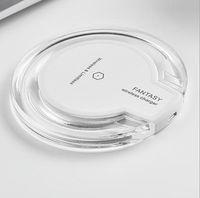 cargador qi transmisor inalámbrico al por mayor-Acrílico Plástico Cristal K9 Teléfono móvil Cargador inalámbrico QI Base Transmisor 5V 2000mA Función de indicador Micro USB