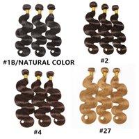 saç uzatmaları renk 27 toptan satış-Malezya Hint Brezilyalı Bakire Saç Demetleri Perulu Vücut Dalga Saç Örgüleri Doğal Renk # 1 # 2 # 4 # 27 İnsan Saç Uzantıları