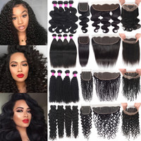 Wholesale curly hair frontal resale online - Brazilian Human Hair Wefts With Closure Kinky Curly Virgin Hair With13X4 Lace Frontal Hair Weaves Lace Frontal With Bundles