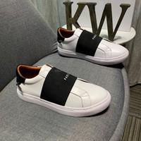 las mejores marcas de zapatos de diseño al por mayor-Cuero de lujo de la zapatilla de deporte Hombres Mujeres Casual top Italia Marca rayas zapato para caminar entrenadores deportivos Band Chaussures Pour Hommes