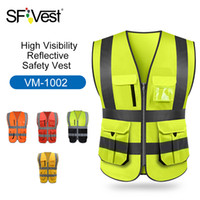 Wholesale cycling visibility resale online - High Visibility Reflective Safety Vest Reflective Vest Multi Pockets Workwear Security Working Clothes Day Night Cycling Warning T190622