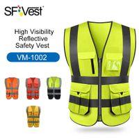 çoklu cep giyim toptan satış-Yüksek Görünürlük Yansıtıcı Güvenlik Yelek Yansıtıcı Yelek Çok Cepler Workwear Güvenlik Çalışma Kıyafetleri Gündüz Gece Bisikleti Uyarı T190622