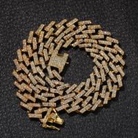 erkekler altın zincirleri bağlar toptan satış-Hip Hop Bling Zincirleri Takı Erkekler Buzlu Out Zincirleri Kolye Altın Gümüş Siyah Mavi Elmas Miami Küba Bağlantı Zincirleri