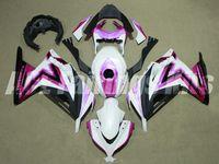 carenados violeta al por mayor-Nuevo kit de carenados de motocicleta ABS aptos para kawasaki Ninja 300 EX300 Ninja300 2013 2014 2015 13 14 15 Carenado + tapa del tanque blanco Violeta