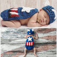 Wholesale photo prop baby boy clothing for sale - Group buy infant baby newborn boy designer clothes crochet animal styling costume woven clothing material photo props