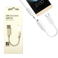 adaptador usb hembra de 3.5mm al por mayor-Tipo-C Adaptador de carga de audio 2 en 1 USB-C Macho a hembra a conector de auriculares de 3,5 mm + Adaptador de carga Adaptador rápido Con paquete minorista