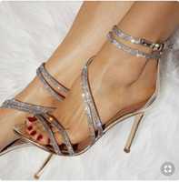 Wholesale sexy leather foot resale online - Summer Woman Serpentine Sexy Sandals Thin High Heel Side With Foot Ring Zipper Wedding Shoes Banquet Women s Sandals Fashion Sandals