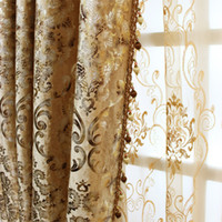 Wholesale curtain fabric resale online - Royal classic European luxury curtain living room bedroom floor window velvet high blackout camel gold fabric hot stamping process