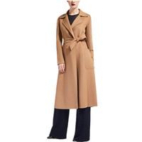 ingrosso lunghi cappotti di cammello-2019 Primavera Inverno Donna Nero Cammello Grigio Cashmere Look Maxi Long design Cappotto con cintura Cappotto da donna di alta qualità