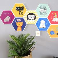 kedi odası dekor toptan satış-Yatak odası Dekor Duvar Çıkartmaları Kedi Fil Autohesion Altıgen Renkli 3D Yurdu Oturma Odası Toz Geçirmez Dayanıklı Duvarlar Sticker 7qrD1