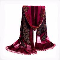 peacock xales seda venda por atacado-Pavão 100% lenços de seda de veludo do vintage das mulheres estilo chinês frisada Bordados Xaile Scarf wrap Longo roubou Fringle