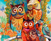 baykuş yatak odası çıkartmaları toptan satış-5d Diy Elmas Boyama Çapraz Dikiş Güzel Renkli Baykuş Desen Kitleri Elmas Nakış Sanatları Diy El Sanatları Duvar Sticker
