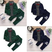 da2613bbbaa good quality Baby Boy Winter clothes children s clothing set 2PCs Long  Sleeves Bow Tie Top T-shirt+ Pants Outfit Kids Clothes Set