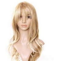 peruca longa loira loira encaracolado venda por atacado-LL a2893 Detalhes sobre Lady Long Curly Ondulado Luz Loira Resistente Ao Calor Inclinado Frisette Peruca Macia Wigasdfsds