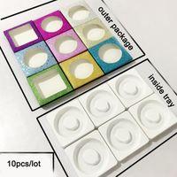 kirpik diy toptan satış-10 takım / grup göz kirpik Kirpik boş kirpik kutuları için Ambalaj kutusu kutuları Renkli kağıt kutusu beyaz tepsi 25mm Kirpik DIY Shining ambalaj kutusu