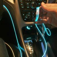 carregamento do aparador venda por atacado-5 m interior do carro atmosfera lâmpada colorido linha de luz fria com carregamento USB DIY Decorativo Estilo Do Carro LEVOU Guarnição Tiras de Luz