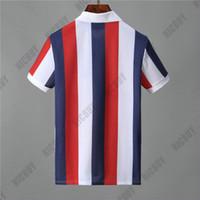 polo weißer streifen großhandel-Designer Mens Marke Polo T-Shirt Mode Sommer Kleidung T-Shirt klassischen Streifen Brief blau weiß rot T-Shirt Umlegekragen Casual T-Shirt