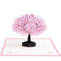 ingrosso biglietti augurali di anniversario fatti a mano-Anniversario romantico delle cartoline d'auguri stereoscopiche eleganti di compleanno 3D di festival Handmade della ciliegia orientale
