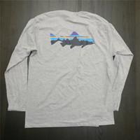 dağ tişörtleri toptan satış-Yüksek Sokak Kaykay Uzun Kollu T-Shirt PATAGONIA Dağ Baskı Tees Tops Mens Moda Marka Tişörtleri Kadın Beyaz Tees