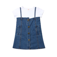 Wholesale bib shorts tops blue for sale - Group buy Baby Girls short sleeve white T shirt Tops Denim Bib Skirt Dress Toddler Kids summer casual Outfits Clothes