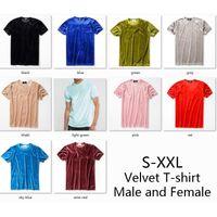 Wholesale round t shirt male resale online - Top Dropshop Men Summer Mens Designer T Shirt European Style Velvet T shirt Round Neck Cotton Short Sleeves Male and Female T shirts