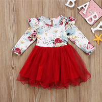 Wholesale baby clothes for party for sale - Group buy Autumn Newborn Infant Baby Dress Cotton Toddler Bow Tutu Dress Floral Ruffle Party Dresses For Girls Fashion Baby Girl Clothes