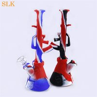 Wholesale water stick smoking resale online - 9 Inch Silicone Water Bong FDA Approved Reusuable Cheap Non Stick Wax Herb Tobacco smoking pipes glass water bongs