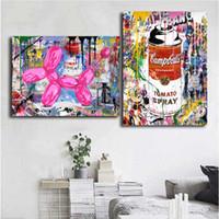 pinturas negras moradas al por mayor-Mr Brainwash Graffit Lienzo Pintura Cuadro de la pared Cartel e impresión Decoración para el hogar decorativa