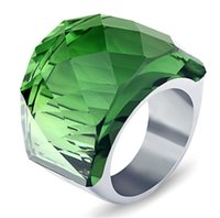 ingrosso grandi anelli di pietra-Anelli d'argento grandi per le donne Monili d'oro extra grandi anelli di pietra di cristallo Anello di vetro di grandi dimensioni di pietra di vetro d'acciaio