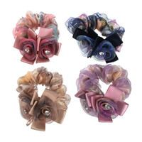 ingrosso supporto in ponytail elastico strass-Fasce elastiche per capelli con fiore elastico di moda Gomma per accessori per capelli Ragazze Donna Strass Scrunchy Elegante elastico