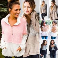 kadınlar boynuzlu hoodie toptan satış-Kadınlar Cep Fleece Hoodie 4 Renkler Zip Kürk Kış Kazak Kazaklar Turtleneck Fermuar Sherpa LJJO7201 Tops Patchwork