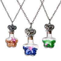 diy driftflaschen großhandel-Kristalltrockene Blumen treiben Wunschflaschenherzanhänger Halsketten für Schmucksachen DIY der Frauen Weihnachtsgeschenk